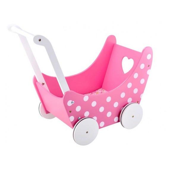 Drevený kočík pre bábiky Inlea4Fun PINK DOLL'S PRAM