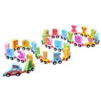 Drevený vláčik s písmenkami Inlea4Fun CARTOON ALPHABET CAR