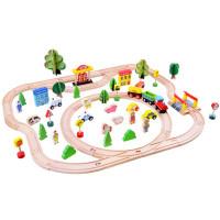 Inlea4Fun KIDS TOYLAND Drevená vlaková trať s doplnkami Mesto 80 kusov