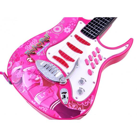 Inlea4Fun Elektrická gitara s mikrofónom a zosilňovačom - ružová