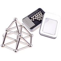 Magnetické tyče a guličky v kovovej krabici Inlea4Fun 65 ks
