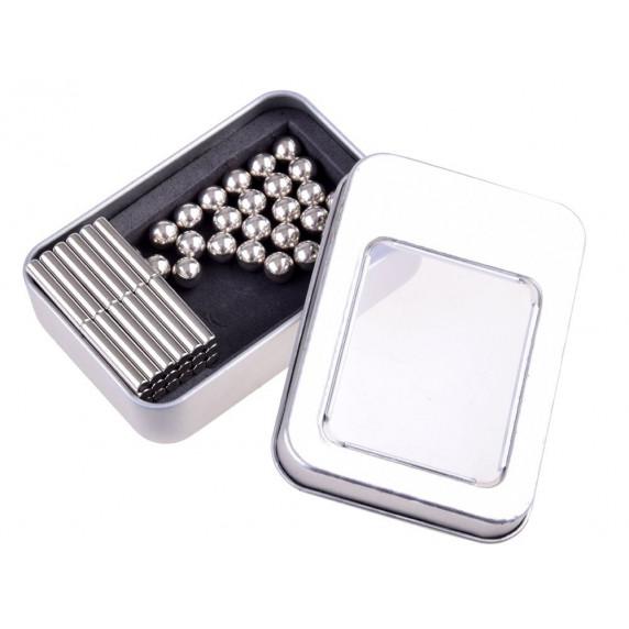 Inlea4Fun Magnetické tyče a guličky v kovovej krabici 65 ks