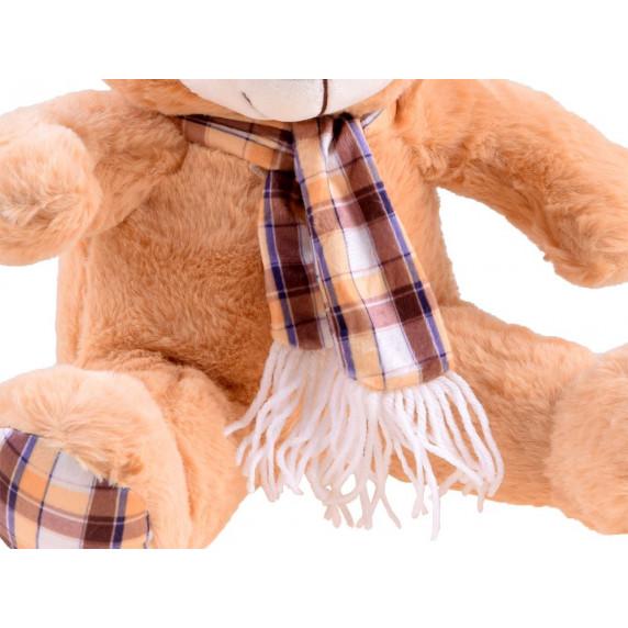 Plyšový medvedík s károvanou šatkou 30 cm Inlea4Fun - hnedý