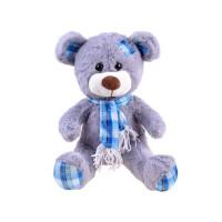 Plyšový medvedík s károvanou šatkou 30 cm Inlea4Fun - sivý