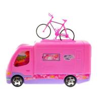 Ružový karavan s bicyklom Inlea4Fun CAMPER