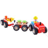 Inlea4Fun WOODEN TRACTOR Drevený traktor s prívesom a figúrkami