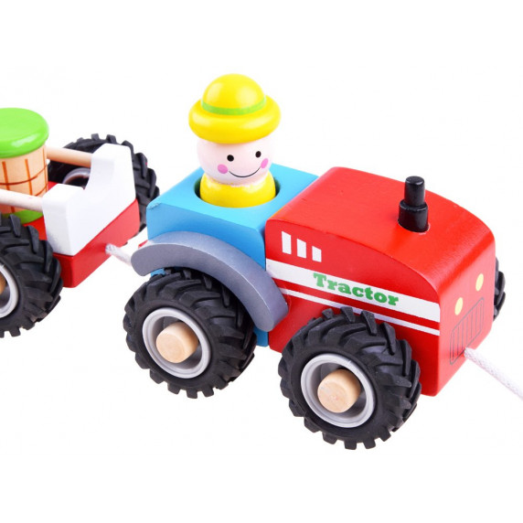 Drevený traktor s prívesom a figúrkami Inlea4Fun WOODEN TRACTOR