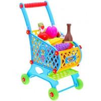 Inlea4Fun SUPER FUNNY Nákupný vozík s potravinami - modrý