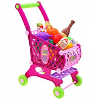 Inlea4Fun SUPER FUNNY Nákupný vozík s potravinami - ružový