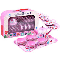 Inlea4Fun CHILDREN´S TEA SET Detská čajová súprava s 14 doplnkami - ružová s kvetinkami