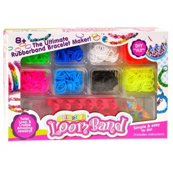 Farebné gumky pre výrobu náramkov Inlea4Fun Loom Band