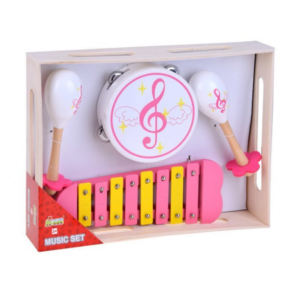 Detské drevené hudobné nástroje 3v1 Inlea4Fun MUSIC SET