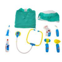 Lekársky kostým so svietiacimi doplnkami Inlea4Fun MEDICAL SET - zelený