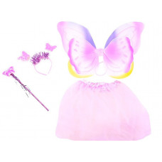 Inlea4Fun Detský kostým Motýlia víla s krídlami - svetloružový Preview
