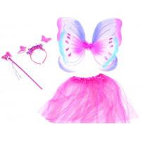 Inlea4Fun Detský kostým Motýlia víla s krídlami - ružový