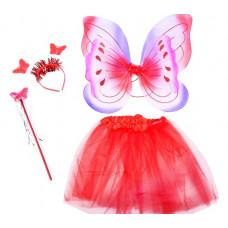 Inlea4Fun Detský kostým Motýlia víla s krídlami - červený Preview
