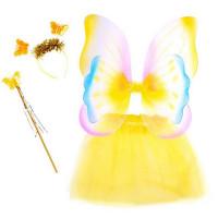 Inlea4Fun Detský kostým Motýlia víla s krídlami - žltý