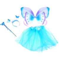 Inlea4Fun Detský kostým Motýlia víla s krídlami - modrý