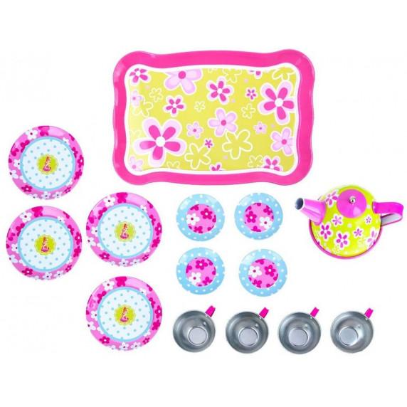 Inlea4Fun Detská čajová súprava s 14 doplnkami - kvetinkované