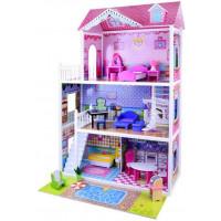 Inlea4Fun Drevený domček pre bábiky s LED svetlom Betty