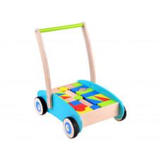 Drevený vozík s farebnými kockami 32 kusov Inlea4Fun WOODEN WAGON  Preview