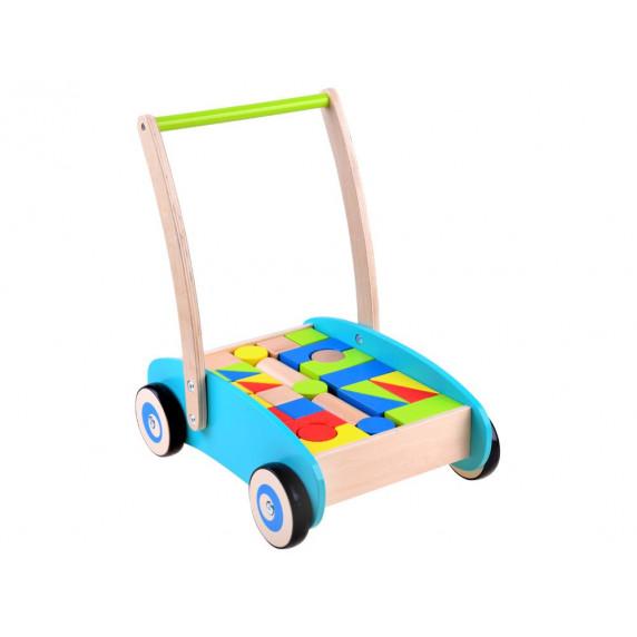 Drevený vozík s farebnými kockami 32 kusov Inlea4Fun WOODEN WAGON