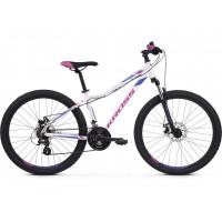 """KROSS MTB WOMAN Dámsky horský bicykel LEA 3.0 17"""" S 2020 - lesklý biely / fialový"""