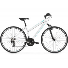 "Dámsky bicykel KROSS EVADO 1.0 19"" DL 2022 - lesklý biely / tyrkysový Preview"