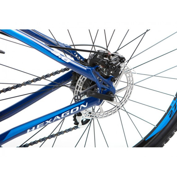 "KROSS MTB Horský bicykel HEXAGON 3.0 19"" M 2021 - lesklý modrý / biely"