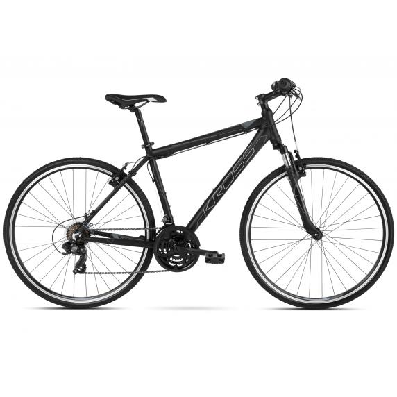 """KROSS Cross Pánsky bicykel Evado 1.0 21"""" L 2021 - matný čierny / grafitovo šedý"""