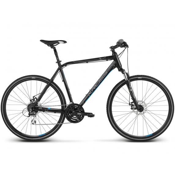 "KROSS Cross Pánsky bicykel Evado 4.0 19"" M 2021 - matný čierny / modrý"