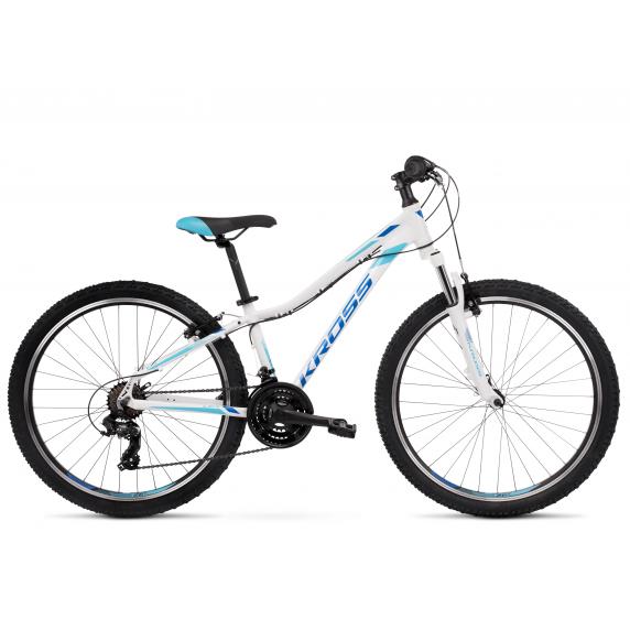 """KROSS MTB WOMAN Dámsky horský bicykel LEA 1.0 13"""" XXS - lesklý biely / modrý"""