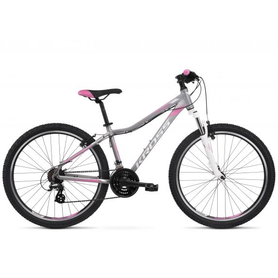 """Dámsky horský bicykel LEA 2.0 17"""" DS 2022 KROSS MTB WOMAN - matný strieborný / biely / ružový"""