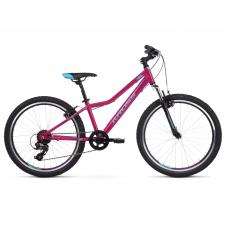 """KROSS  Junior Detský bicykel Lea Jr 1.0 12"""" 2020 - lesklý ružový / modrý / fialový Preview"""