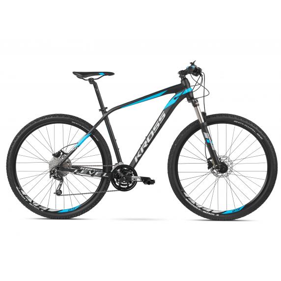 """KROSS Horský bicykel LEVEL 4.0 17"""" S 2020 - matný čierny / modrý / strieborný"""