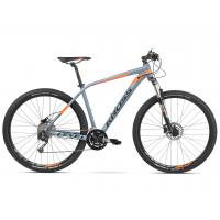 """KROSS Horský bicykel LEVEL 4.0 23"""" XL 2020 - lesklý sivý / oranžový"""