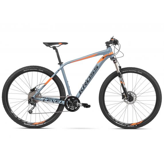 """KROSS Horský bicykel LEVEL 4.0 17"""" S 2020 - lesklý sivý / oranžový"""