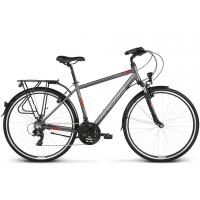 """KROSS Trekking Pánsky bicykel Trans 1.0 17"""" S 2020 - matný grafitovo šedý / červený / biely"""