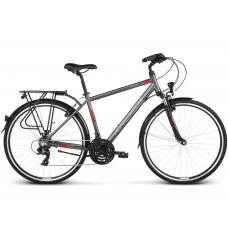 """KROSS Trekking Pánsky bicykel Trans 1.0 17"""" S 2020 - matný grafitovo šedý / červený / biely Preview"""