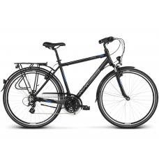 """KROSS Trekking Pánsky bicykel Trans 2.0 17"""" S 2020 - matný čierny / modrý / strieborný Preview"""