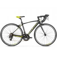 """KROSS  Junior Detský bicykel Vento Jr 2.0 16"""" 2020 - lesklý čierny / limetkový / grafitovo šedý"""