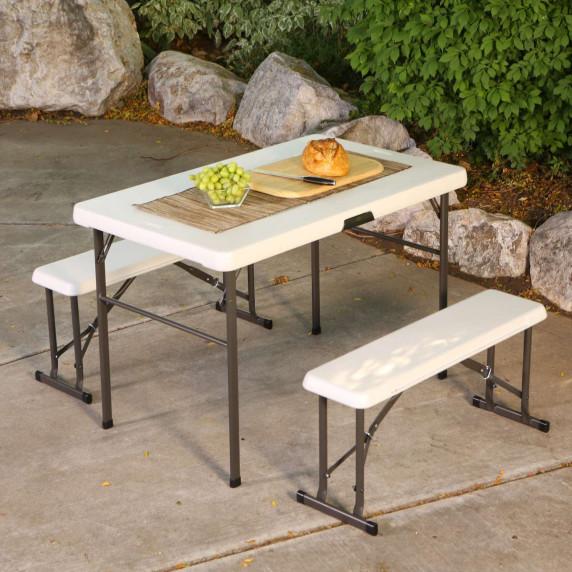 Campingový stôl a 2x lavica LIFETIME 80353 / 80352