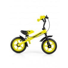 """Detské cykloodrážadlo Milly Mally Dragon s brzdou 10"""" - žlté Preview"""