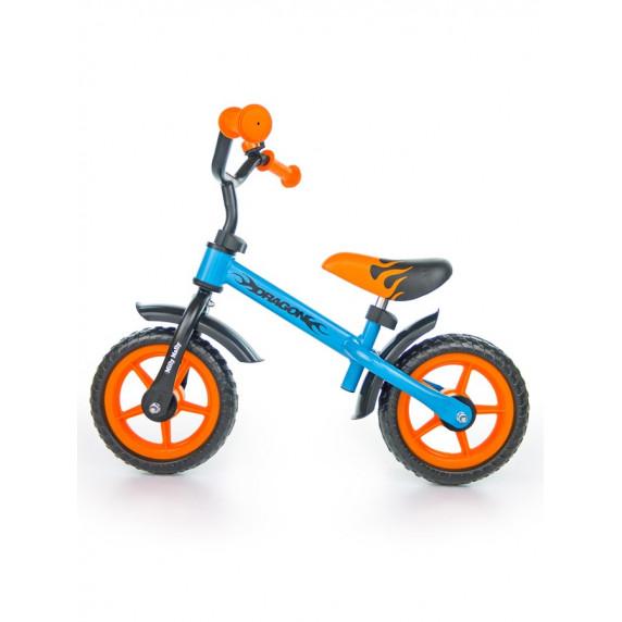 "Detské cykloodrážadlo Milly Mally Dragon 10"" -  oranžovo-modré"