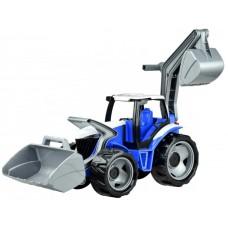 Traktor s lyžicou a bágrom - modro sivý Preview
