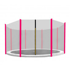 AGA ochranná sieť na trampolínu s celkovým priemerom 366 cm na 8 tyčí - ružová Preview