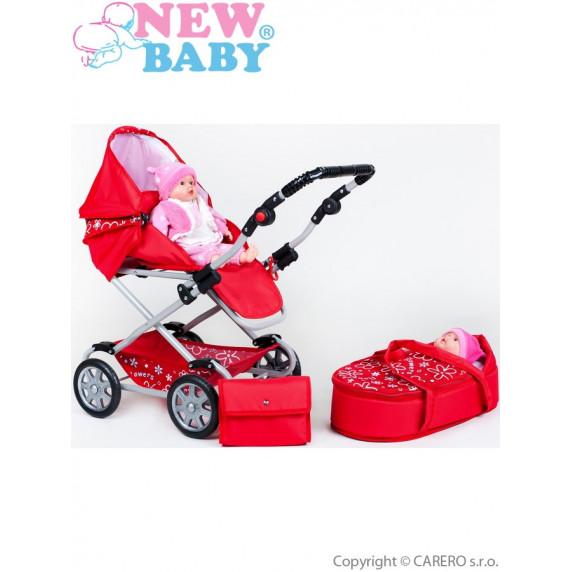 Detský kočík pre bábiky 2v1 New Baby Monika červený