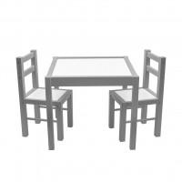 New Baby PRIMA detský drevený stôl so stoličkami - Sivý