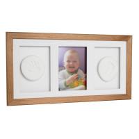 Trojitý fotorámik s odtlačkom Baby HandPrint - Hnedý