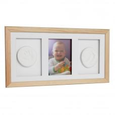 Trojitý fotorámik s odtlačkom Baby HandPrint - Natural Preview
